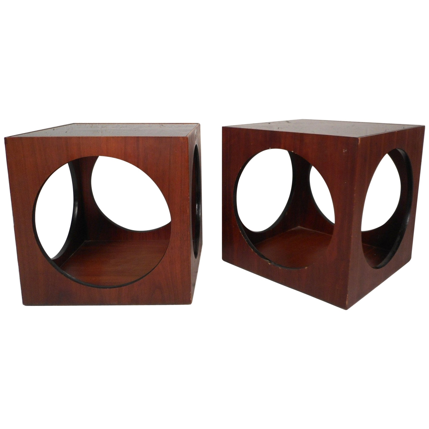 Pair of Mid-Century Modern Cube End Tables