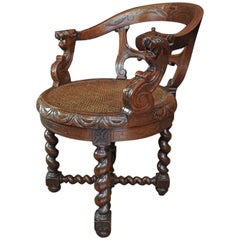 Louis XIII Style Canned and Turning Seat Carved Oak Chairs, circa 1880