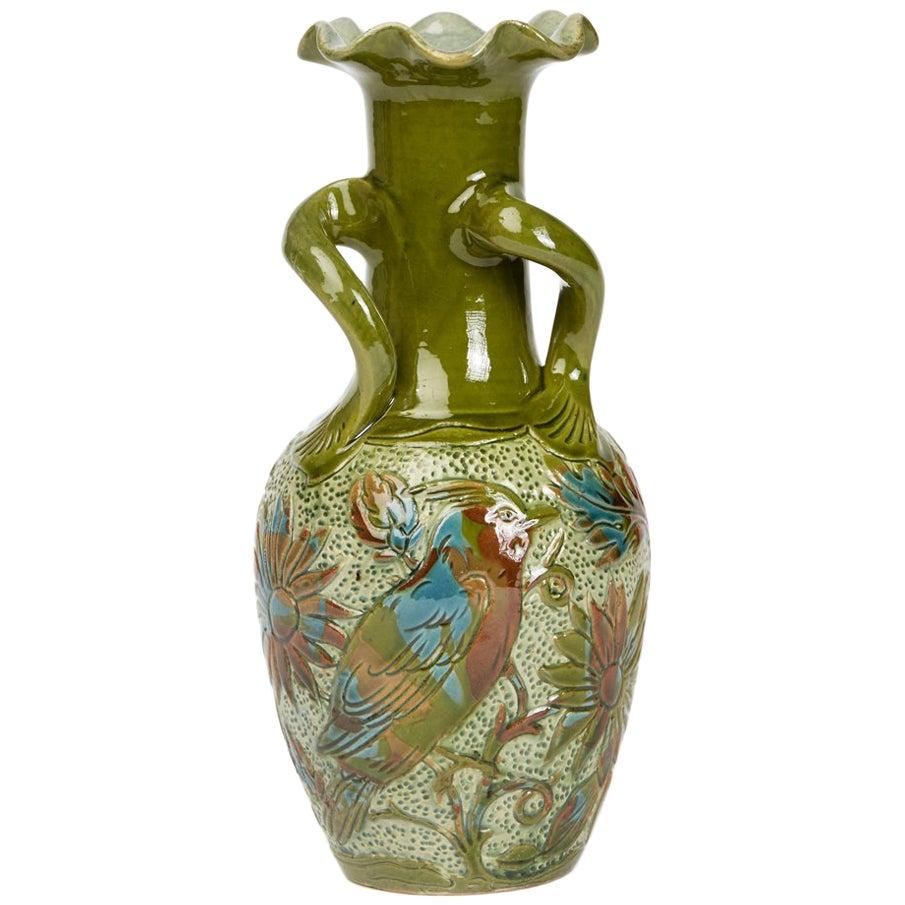 Alexander Lauder Art Pottery Sgraffito Bird Vase, circa 1900