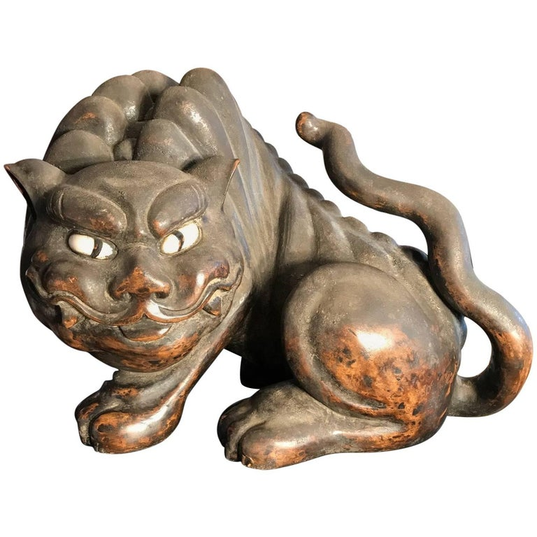 Japanese Stunning Antique Tiger Hand-Carved and Important Provenance