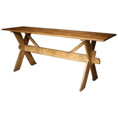 Exceptional 18th Century X-Frame Pine Tavern Table