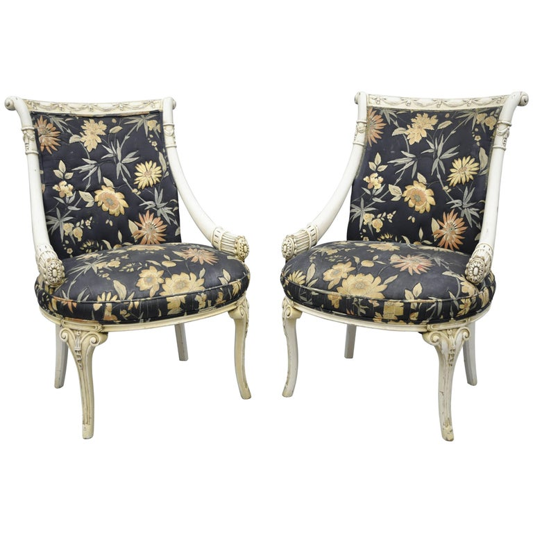 Pair of 1940s Hollywood Regency Carved Parlor Chairs Grosfeld House, Attributed