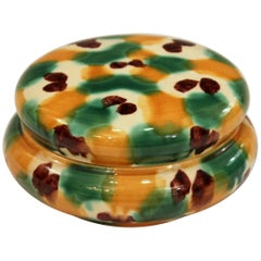 Antique Awaji Pottery Sancai, Three Color Glaze Japanese Covered Jar