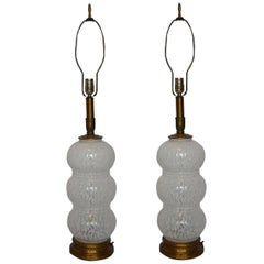 Pair of Murano Glass White Mottled Lamps