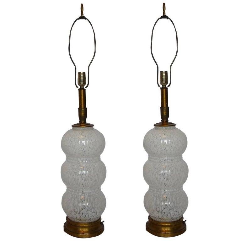 Pair of Murano Glass White Mottled Lamps