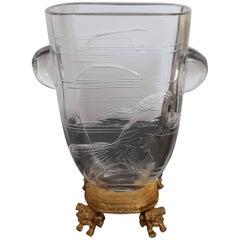Japonisme Crystal Vase, Ormolu Mount by Maison Baccarat for Escalier De Cristal