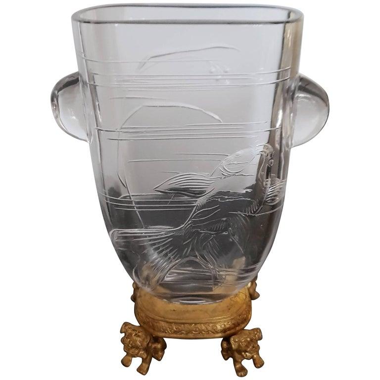 japonisme crystal vase ormolu mount by maison baccarat for escalier de cristal for sale at 1stdibs. Black Bedroom Furniture Sets. Home Design Ideas