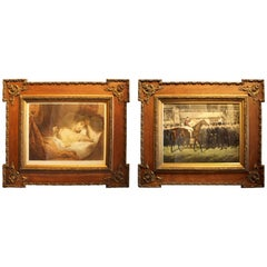 Pair of French Oak and Gilt Gesso Frames with Prints, circa 1900