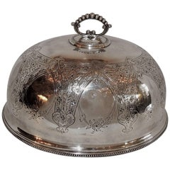 Antique Silver Plated Meat Food Turkey Dome Cover Victorian Cloche Large Serving