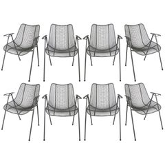 Set of Eight 1950s Woodard Sculptura Dining Chairs