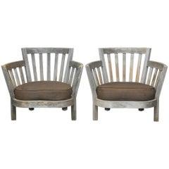 Pair of Teak Westport Armchairs by Weathered Estate Furniture