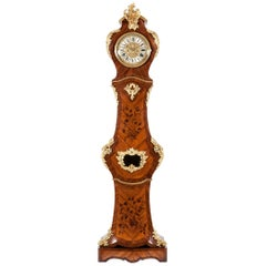 French 19th Century Long Case Clock with Floral Marquetry and Ormolu Mounts