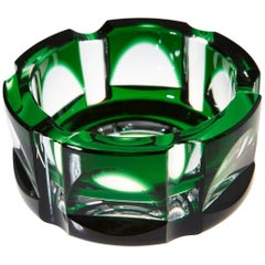 Heavy Hexagonal Emerald Green Crystal Ashtray