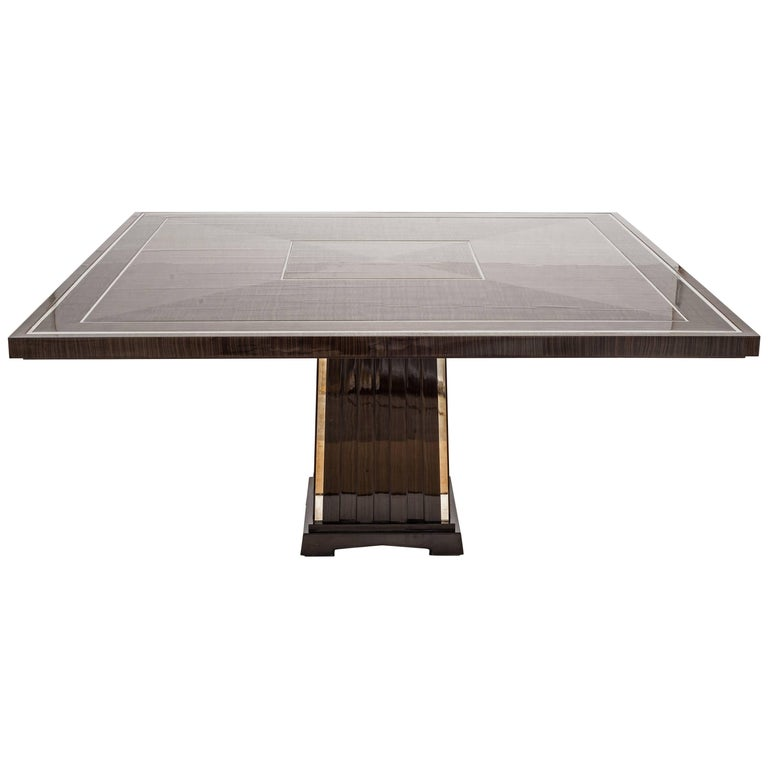 Fine Bespoke Dining Room Table, Veneer Wood Top and Base with Chrome Inserts,