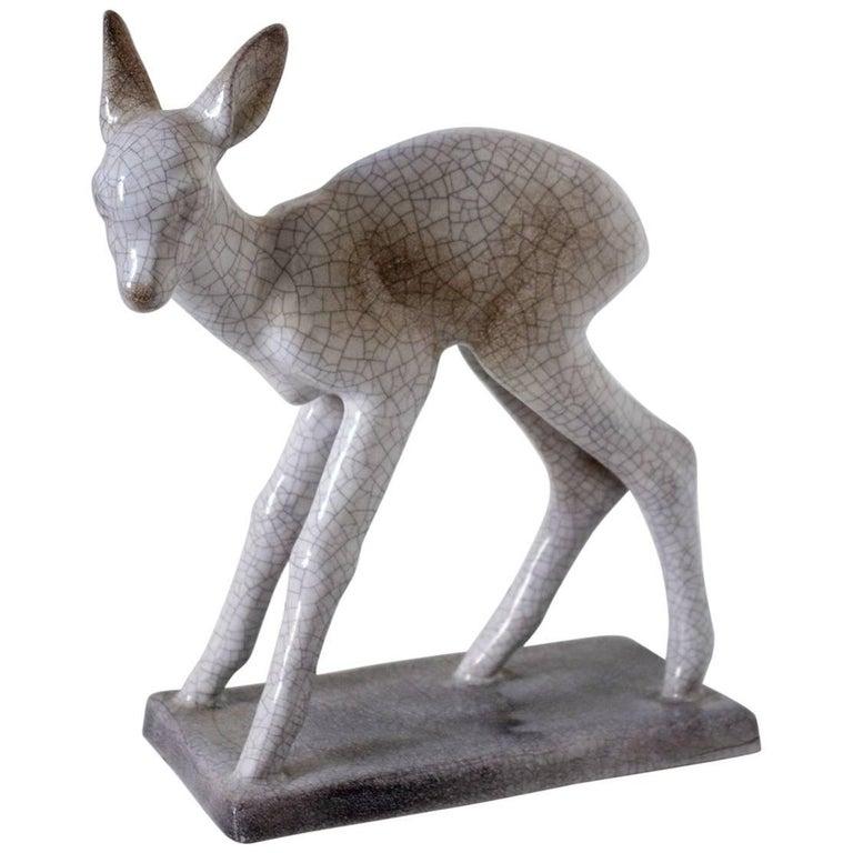 """Bambi"" Glazed Ceramic Sculpture by Else Bach, Germany"