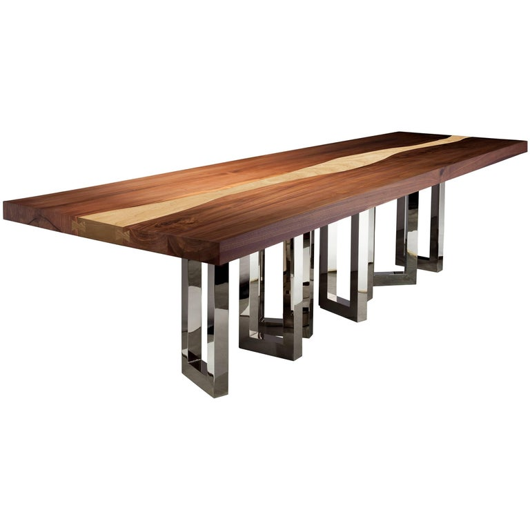 "Long Dining Tables For Sale: ""Il Pezzo 6 Long Table"" 21st Century Solid Wood Dining"