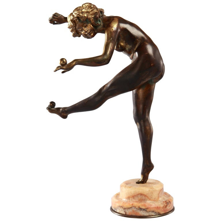 """Art Deco Bronze """"The Juggler"""" by Claire Colinet For Sale"""