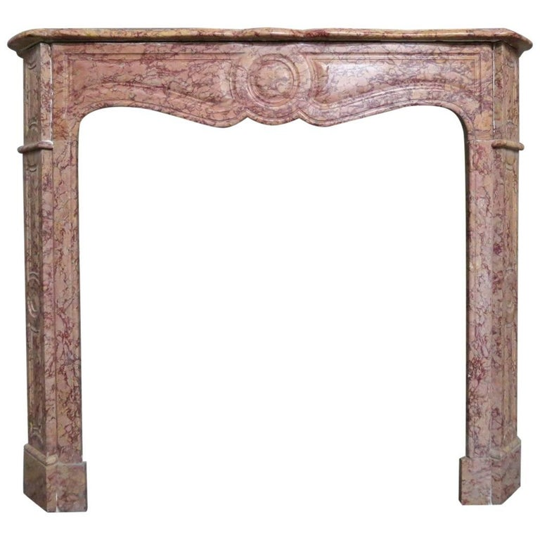 French Pompadour Fireplace Mantel in Brocatelle Marble