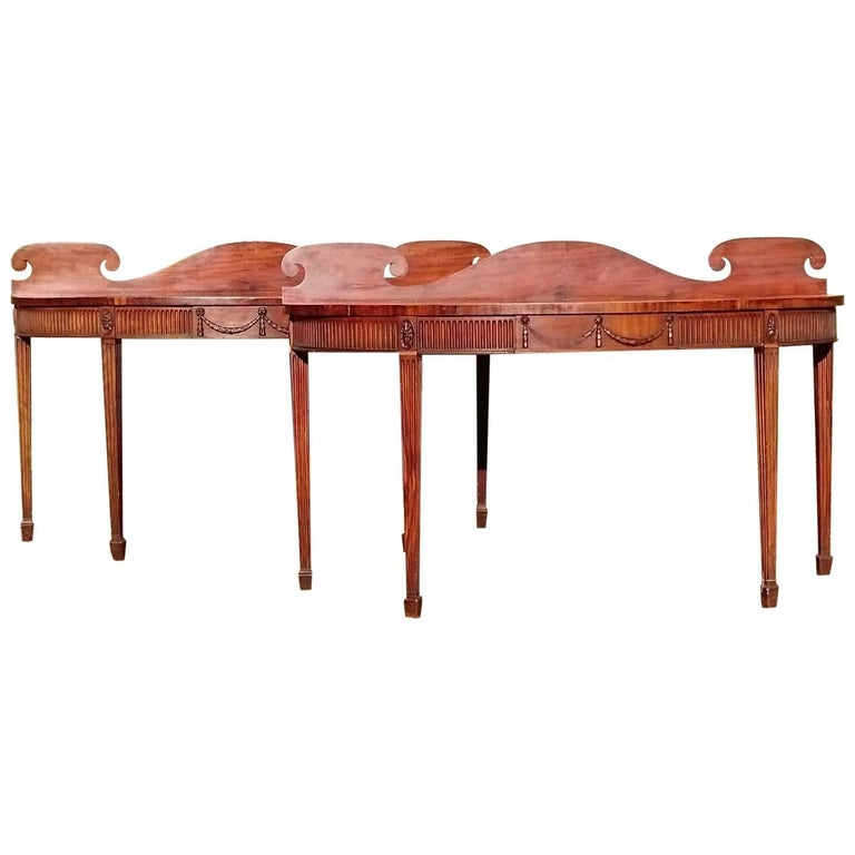 Pair of Early 19th Century George III Period Mahogany Console Serving Tables For Sale