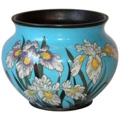 Antique Fine Cloisonne Old Japanese Enamel Copper Crane Irises Meiji Vase Jar