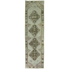 Vintage Turkish Oushak Runner with Lavender Hues