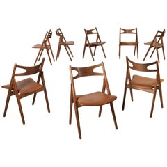 Set of Eight Hans Wegner Ch29 Sawbuck Dining Chairs, Carl Hansen, Denmark