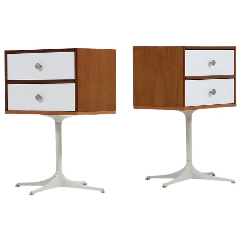 Pair of 1960s Cherrywood Chest of Drawers with Swivel Metal Base Custom-Made