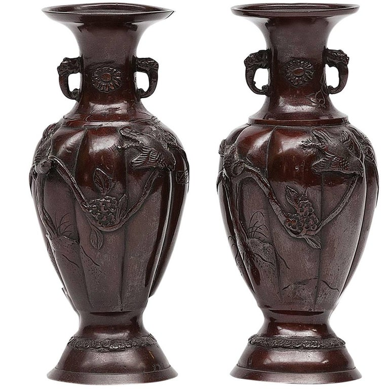 19th Century Pair of Japanese Meiji Period Bronzed Vases