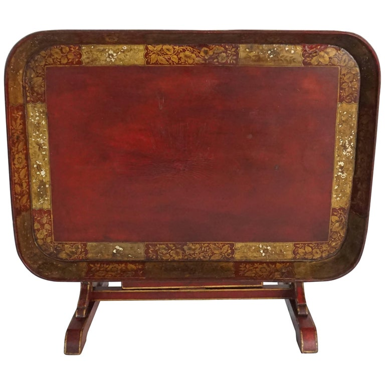 English Regency Papier Mâché Tray Top Low Table / Firescreen, circa 1810 1