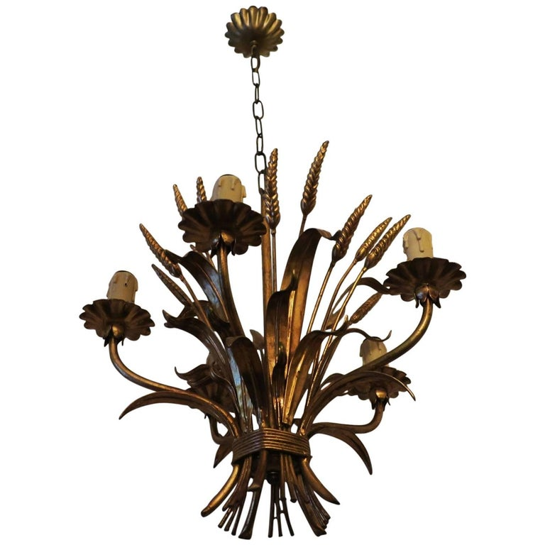 Wheatsheaf Vintage Chandelier in Patinated Gilt Tole
