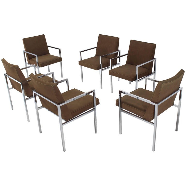 Set of Six Chrome Mid-Century Modern Dining Chairs with Arm Milo Baughman