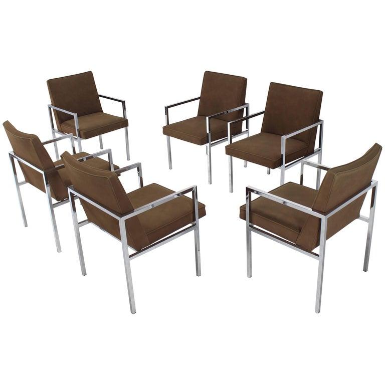 Set of six chrome mid century modern dining chairs with for Modern chrome dining chairs