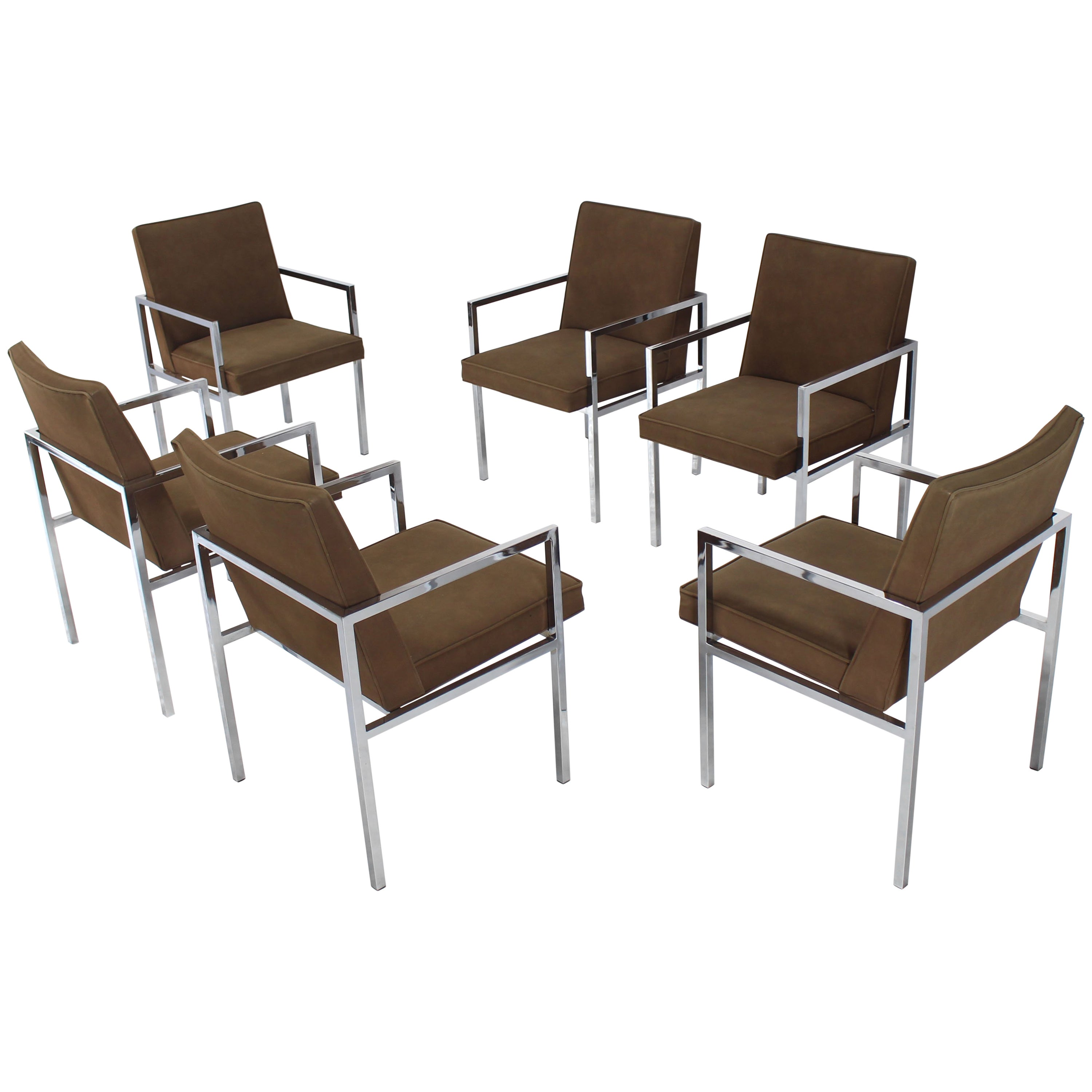 Set of Six Chrome Mid-Century Modern Dining Chairs with Arm Milo Baughman Style