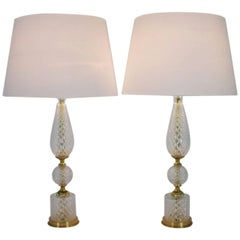 Pair of Textured Glass and Brass Table Lamps, 1960s