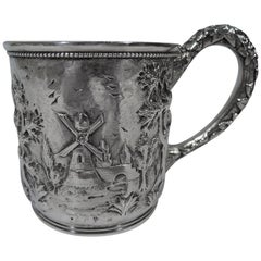 Antique Baltimore Sterling Silver Baby Cup with Pastoral Landscape