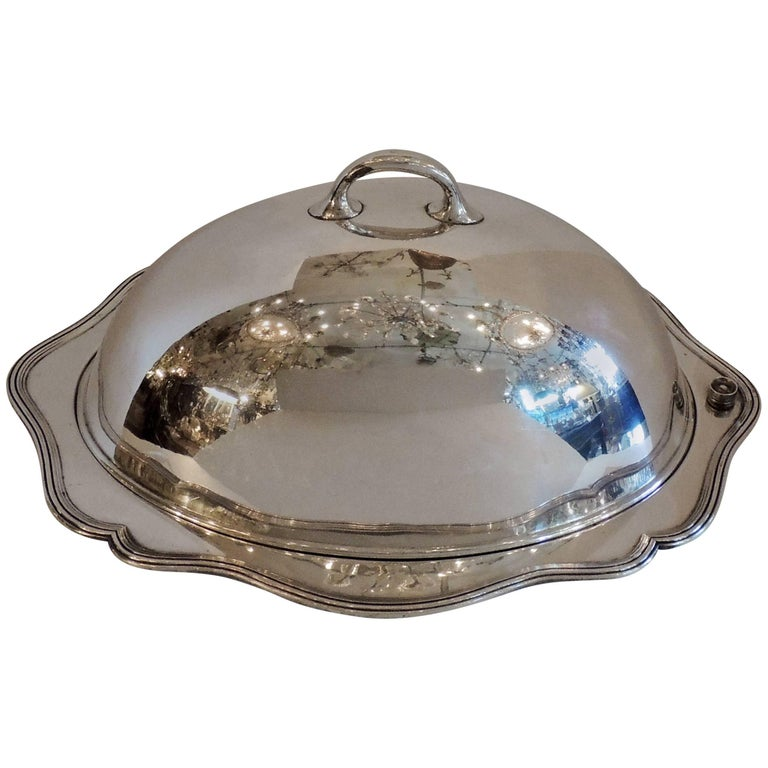 Favorite Antique Silver Plated Meat Turkey Dome Cover Victorian Cloche  LT04