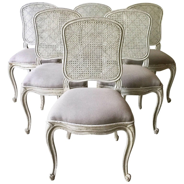 Set of Six, 19th Century French Louis XV Style Chairs with Cane Back For Sale