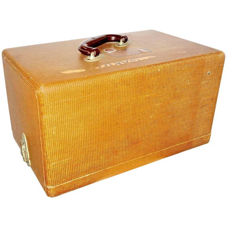 Film Equipment Luggage Case, Vintage, circa 1940s Patterned Canvas on Wood. Deco