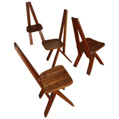 Pierre Chapo a Set of Four S45 Elm Chairs