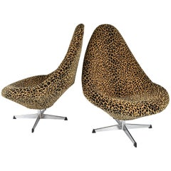Pair of 1960s Swivel Chairs in Leopard