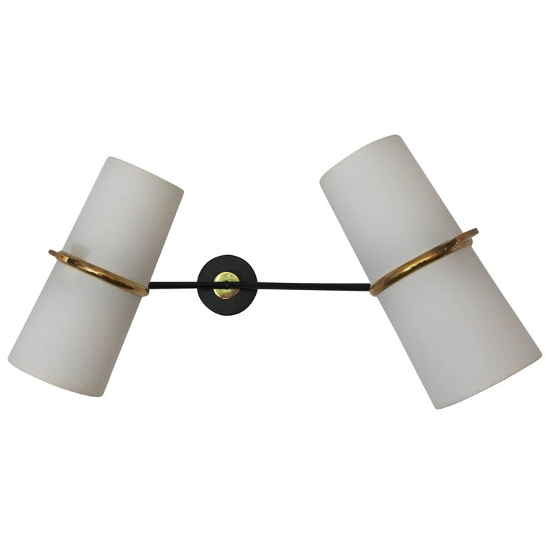 Midcentury Asymmetrical Wall Lamp by Lunel, France, 1950s