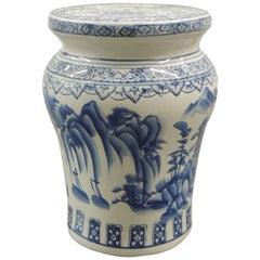 Vintage Blue and White Round Ceramic Garden Stool