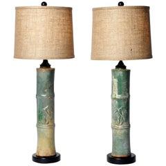 Ceramic Bamboo Trunk Lamps