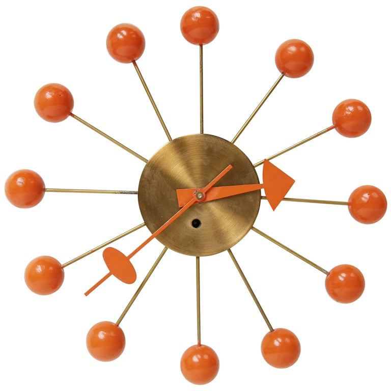 George Nelson Orange Ball Clock for Howard Miller, circa 1950