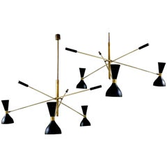Elegant Pair of Black and Brass Adjustable Three-Arm Triennale Style Chandelier