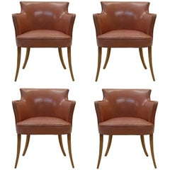 Set of Four Early Dunbar Dining Chairs in Leather