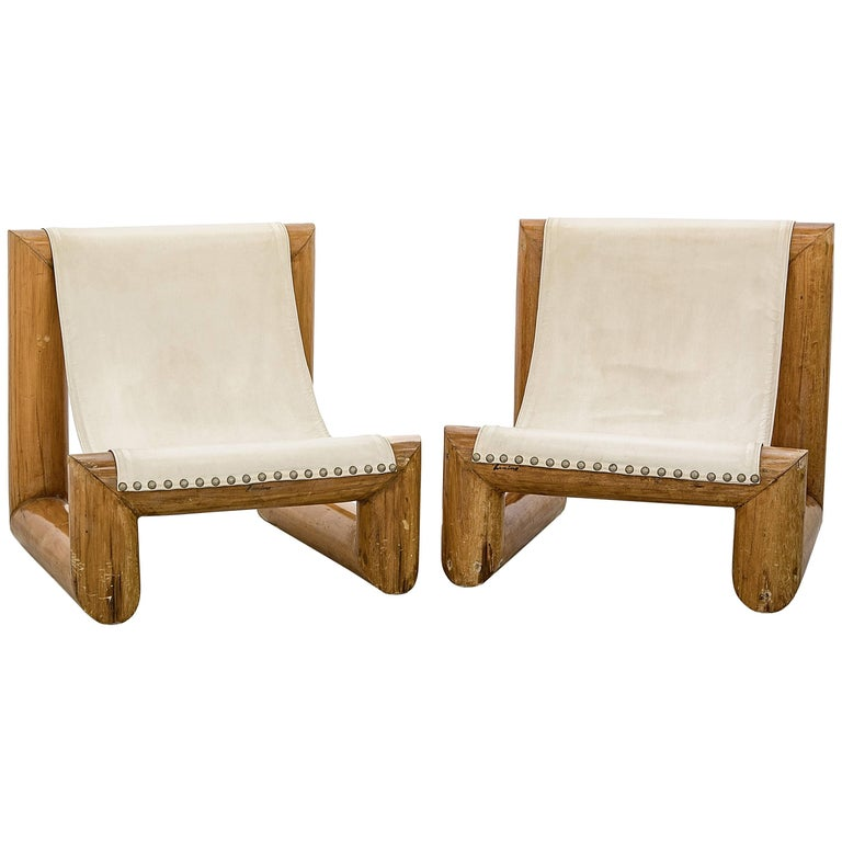 "Jose Zanine Caldas 1970s Pair of Armchairs ""Tronco"" in Solid Wood"