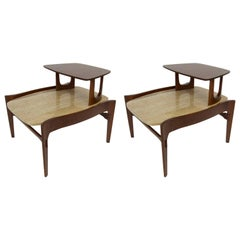 Gordon Furniture Pair of Travertine Step End Tables