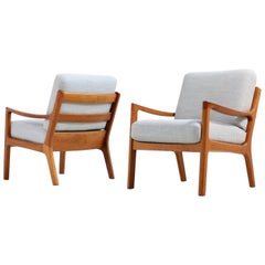 Pair of Danish 1960s Teak Lounge Easy Chairs by Ole Wanscher PJ Poul Jeppesen