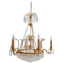 Crystal and Gold Russian Neoclassical Chandelier